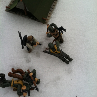 Image of: Setting up cold camp and workin hard
