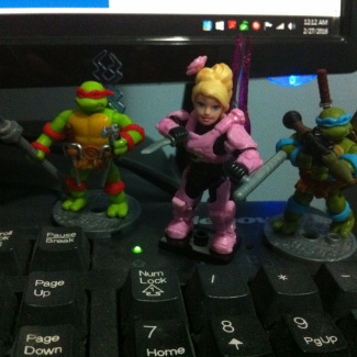 Image of: Turtles with  RPG's, lightsaber staff, and pistol o Rose Ibara
