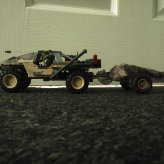 "Image of: Heavy Transport and Recon Warthog with ""Alice"" Artillery trailer."
