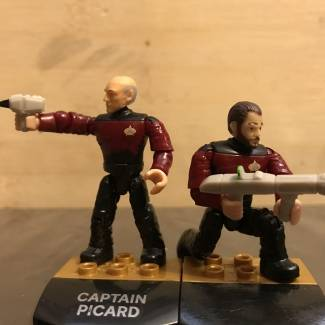 Picard and Riker with Phasers