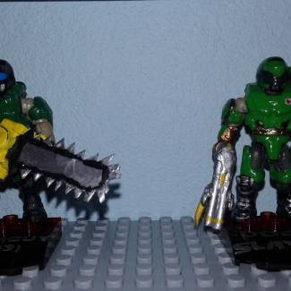 Image of: Doom guy and Doom slayer custom stands