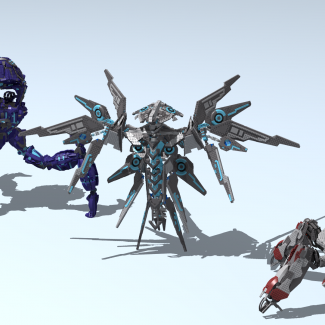 Image of: HALO models (1 part, big models: Kraken, Guardian and Banished Scarab)