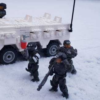 Image of: United Nations Space Command Defense Forces Military Police winter patrol